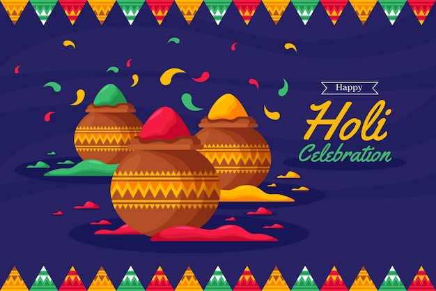 Holi festival in flat design