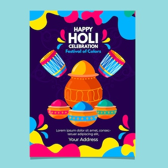 Holi festival flyer template in flat design