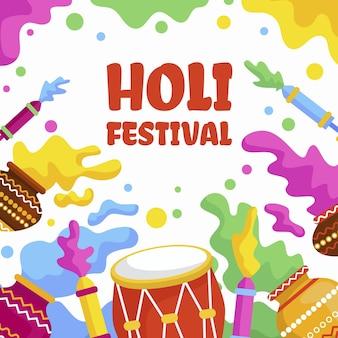 ドラムとホーリー祭のイラスト