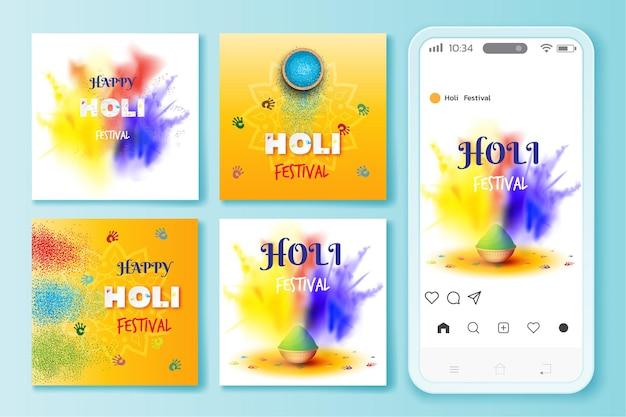 Holi festival instagram 게시물 일러스트