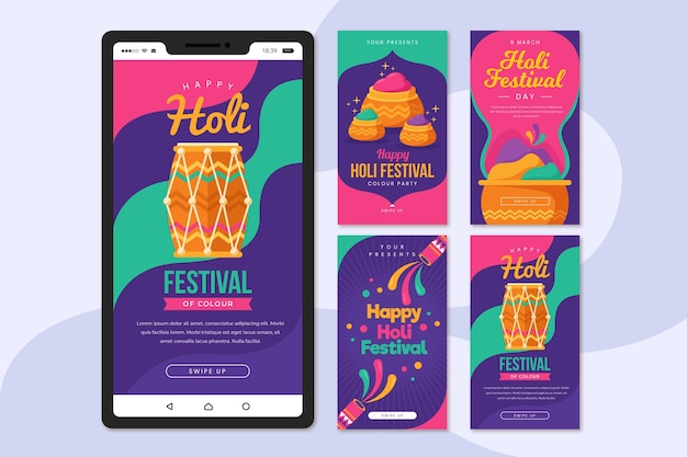 Holi festival instagram stories collection