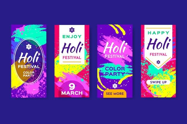 Holi festival instagram stories set