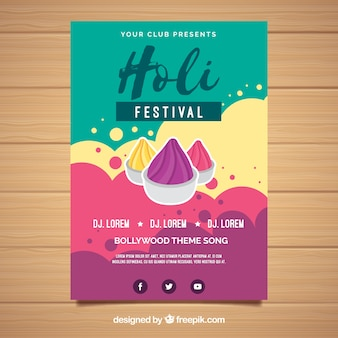 Holi festival party flyer in flat design