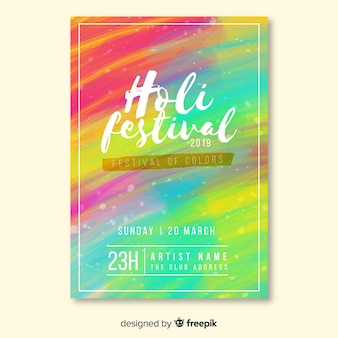 Holi festival party flyer template