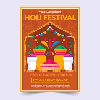 Holi festival party poster template