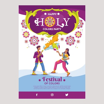 Holi festival poster party template