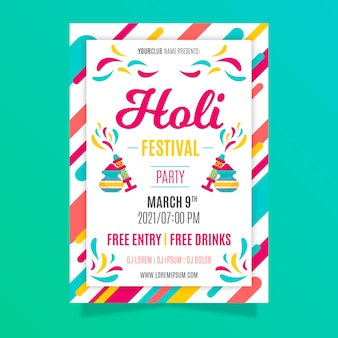 Holi festival poster template in flat design