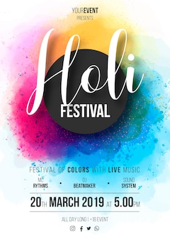 Holi festival poster template ready to print