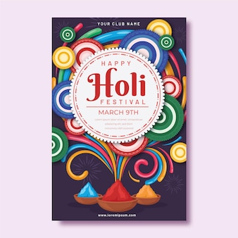 Holi 축제 포스터 템플릿