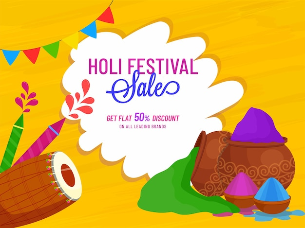 Holi festival sale poster design with 50% discount offer