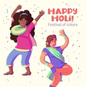Holi festival watercolour people dancing