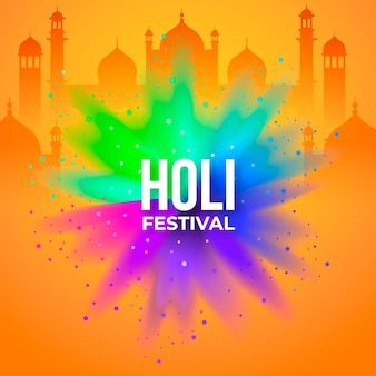 Holi festival with buildings in flat design
