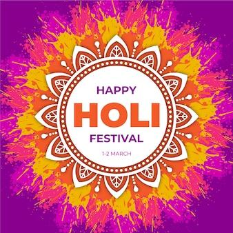 Holi festival with colorful mandala