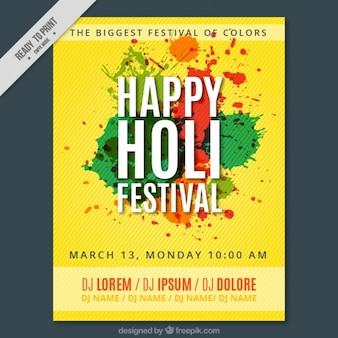 Holi festival yellow poster
