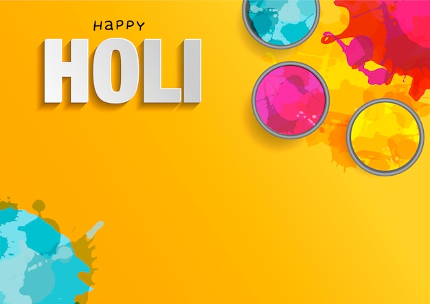 Holi  flat lay. colorful holi powder on yellow .  illustration with splashes and paper cut text