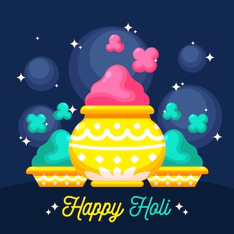 Holi holiday flat design colourful paint powder in vases
