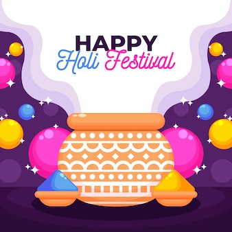 Holi holiday flat design with colourful paint powder
