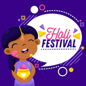 Holi holiday flat design with happy woman