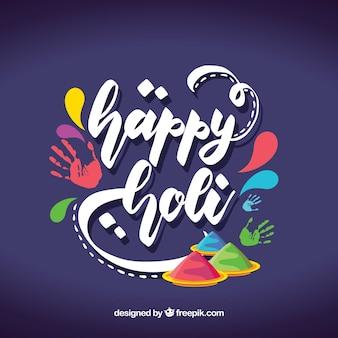 Holi lettering design background
