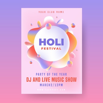 Holi party poster template with frame paint design