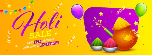 Holi sale header or banner  with 70% discount offer