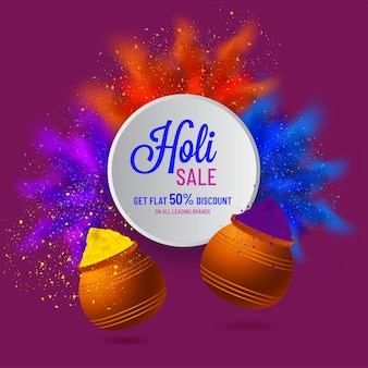Holi sale poster design with 50% discount offer