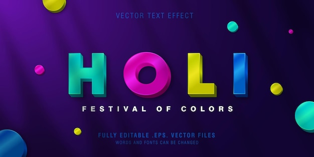 Holi text style effect template