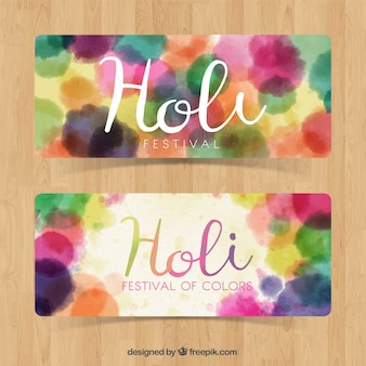 Holi watercolor stains banners