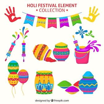 Коллекция элементов фестиваля holi