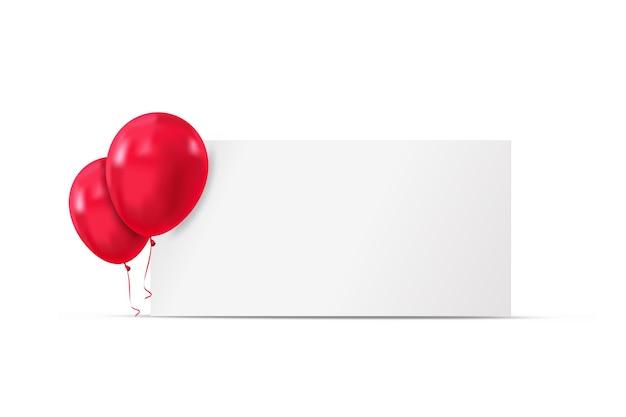 赤い風船と休日の広告バナーの背景バルーンベクトルとお誕生日おめでとう