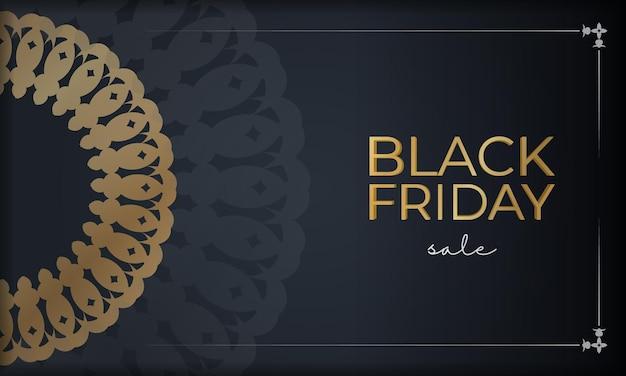 Шаблон праздничной рекламы для черной пятницы в темно-синем цвете с геометрическим золотым узором