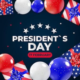 米国大統領の日のポスターのための風船と休日の背景
