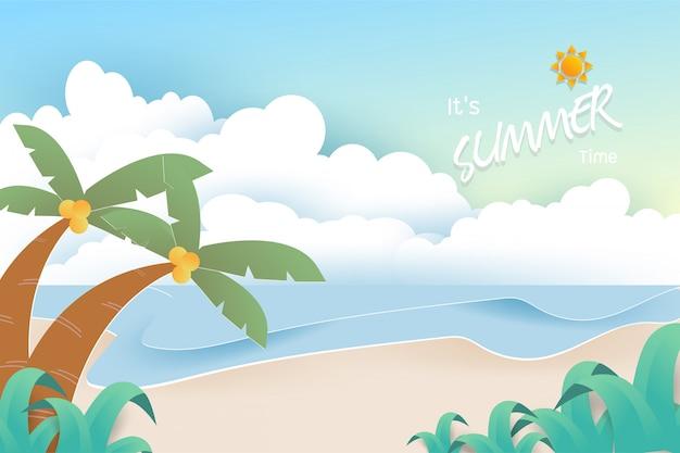 Holiday background with beautiful sea, sand, palm, sun and clouds on pastel color background.
