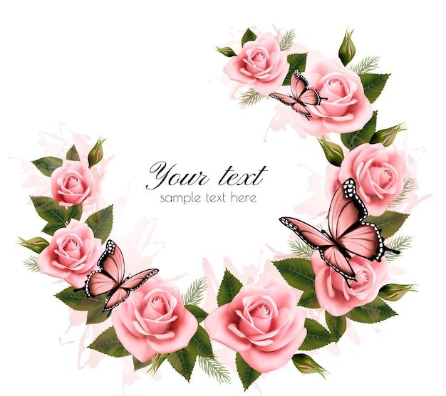 Праздник фон с цветами и бабочками красоты. вектор.