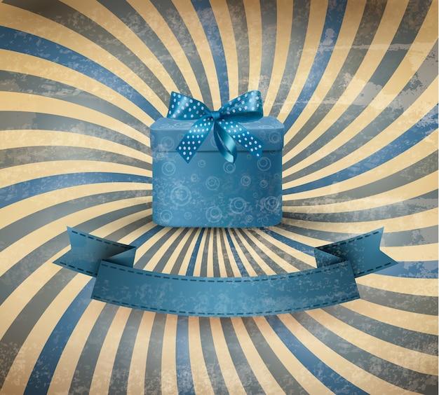 Праздничный фон с голубой подарочной лентой с подарочной коробкой