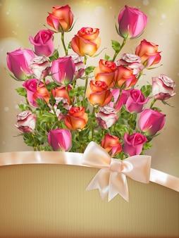 弓とリボンとバラの花の花束と休日の背景。