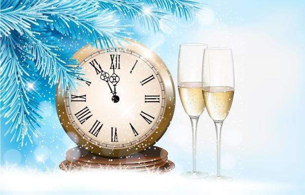 샴페인 잔과 시계와 휴일 배경입니다. 새해 복 많이 받으세요.