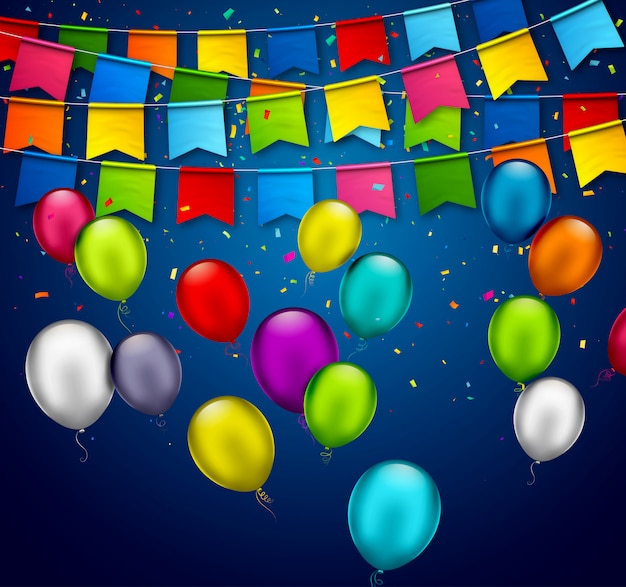 Holiday background  with colorful balloons and garlands of flags