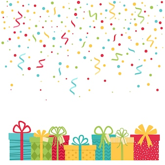 Holiday background with confetti and gift boxes, vector illustration