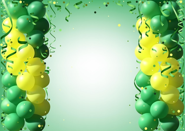 Holiday background with green and yellow party balloons