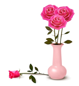 꽃병에 핑크 장미와 휴일 배경입니다.