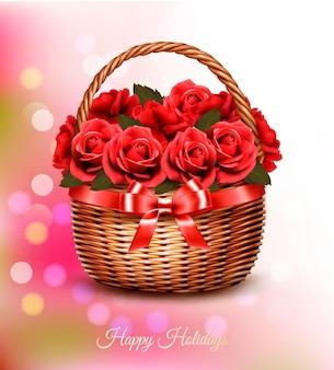 赤い花とバスケットと赤いリボンで休日の背景。ベクター。