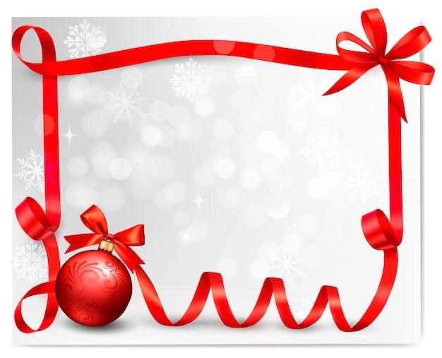 선물 상자와 빨간 선물 활과 휴일 배경. .