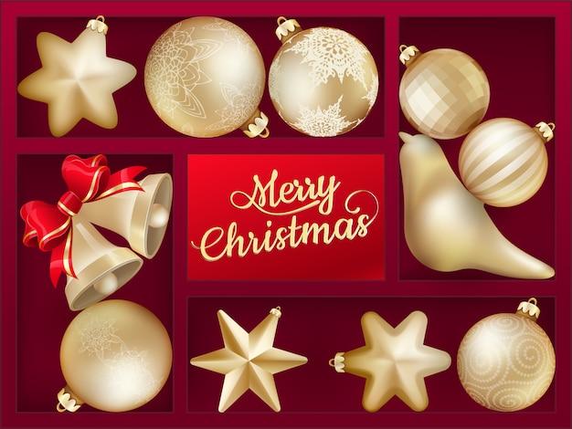 Праздничный фон с красной полкой и новогодними шарами.