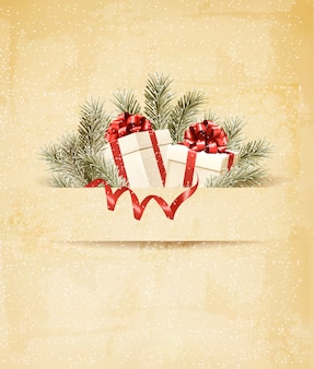 리본과 빨간 선물 상자와 휴일 배경