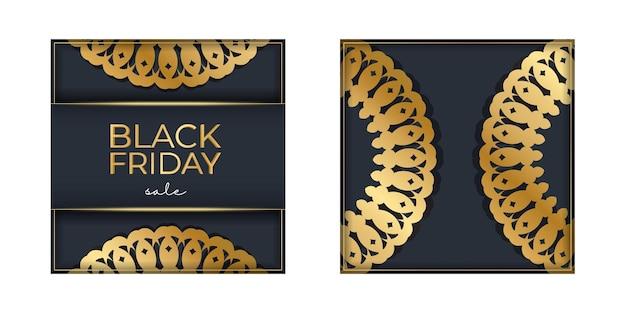 Шаблон праздничного баннера для продажи в черную пятницу темно-синий с геометрическим золотым узором