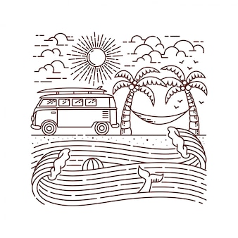 Holiday on the beach line illustration