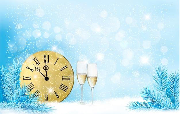 크리스마스 요소와 휴일 파란색 배경