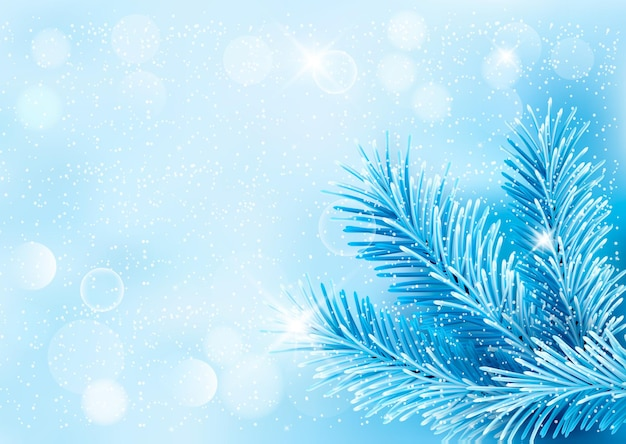 Holiday blue background with tree branches and snowflake.