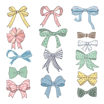Holiday bows and ribbons in cartoon style. vector pictures set